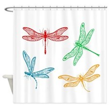 dragon flies in red green blue orange Shower Curta