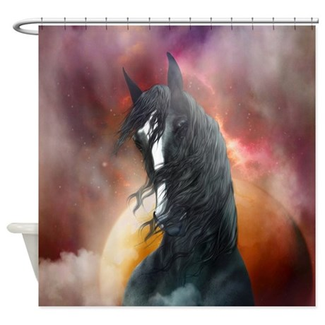 Fantasy shire horse shower curtain by gatterwe for Fantasy shower curtains
