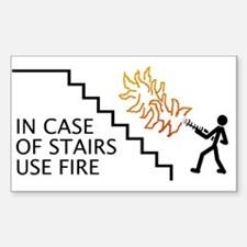 In Case Of Stairs Use Fire Rectangle Decal