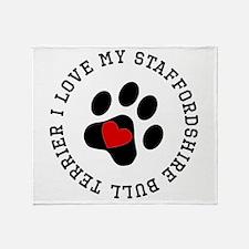 I Love My Staffordshire Bull Terrier Throw Blanket