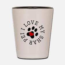 I Love My Shar Pei Shot Glass