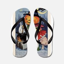 Cute Halloween pumpkin Flip Flops