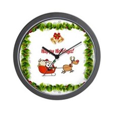 Happy Holidays Christmas Wall Clock