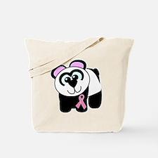 Pink Awareness Ribbon Panda Tote Bag
