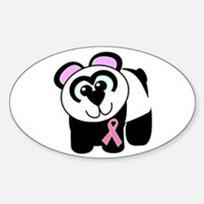 Pink Awareness Ribbon Panda Oval Decal