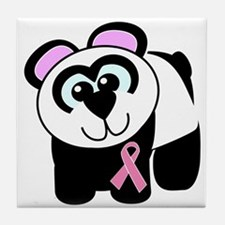 Pink Awareness Ribbon Panda Tile Coaster