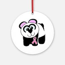 Pink Awareness Ribbon Panda Ornament (Round)
