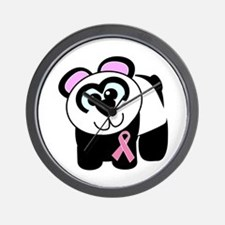 Pink Awareness Ribbon Panda Wall Clock