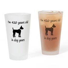 60 dog years black dog 1C Drinking Glass