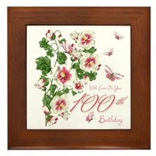 100th Birthday Pink Floral Vine Framed Tile