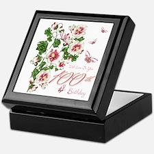 100th Birthday Pink Floral Vine Keepsake Box