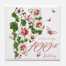 100th Birthday Pink Floral Vine Tile Coaster