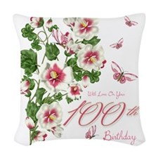 100th Birthday Pink Floral Vine Woven Throw Pillow
