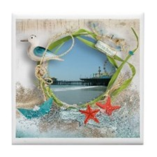 Pier Beach Collage Tile Coaster