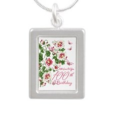 100th Birthday Floral Silver Portrait Necklaces