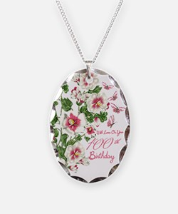 100th Birthday Pink Floral Necklace