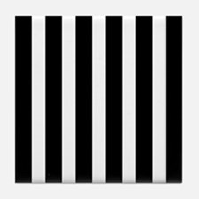 Black And White Vertical Stripes Tile Coaster