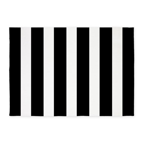 Black And White Vertical Stripes 5u0027x7u0027Area Rug