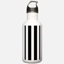 Black And White Vertical Stripes Water Bottle