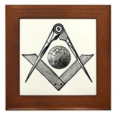 Square and Compass with Globe Framed Tile