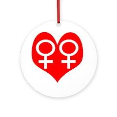 Lesbian Heart Holiday Tree Ornament