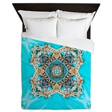 colourful bold turquoise bohemian patt Queen Duvet