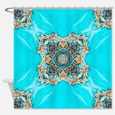 colourful bold turquoise bohemian p Shower Curtain