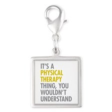 Physical Therapy Thing Silver Square Charm