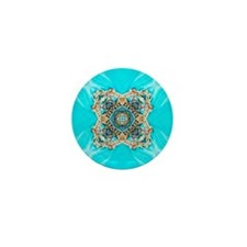 colourful bold turquoise bohemian patt Mini Button