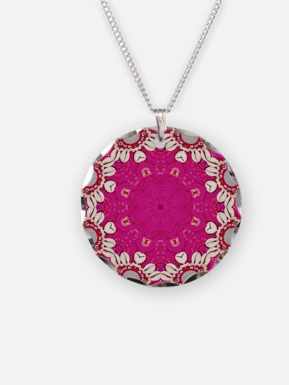 abstract fuschia bohemian sh Necklace