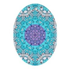 colourful bold bohemian pattern Ornament (Oval)