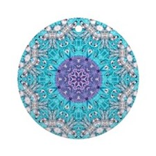 colourful bold bohemian pattern Ornament (Round)