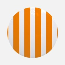Orange And White Vertical Stripes Ornament (Round)
