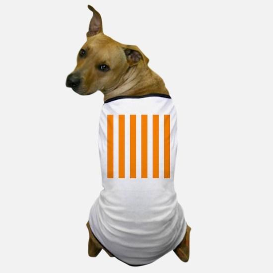 Orange And White Vertical Stripes Dog T-Shirt