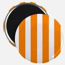Orange And White Vertical Stripes Magnets