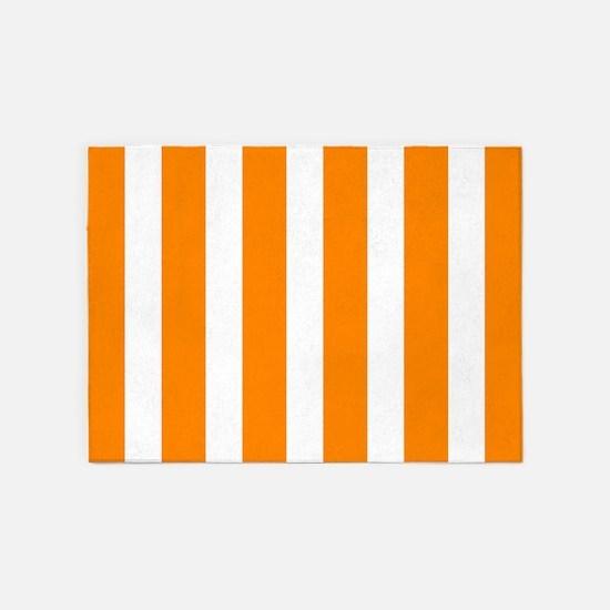 Orange And White Vertical Stripes 5'x7'Area Rug