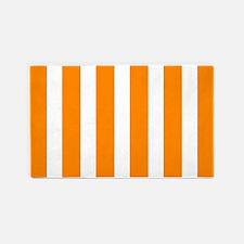 Orange And White Vertical Stripes 3'x5' Area Rug