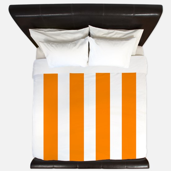 Orange And White Vertical Stripes King Duvet