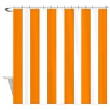 Orange and white stripe Shower Curtains