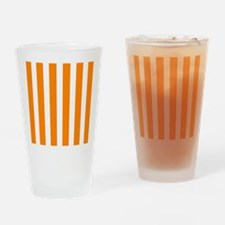 Orange And White Vertical Stripes Drinking Glass