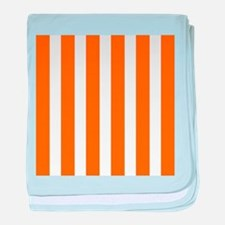 Orange And White Vertical Stripes baby blanket