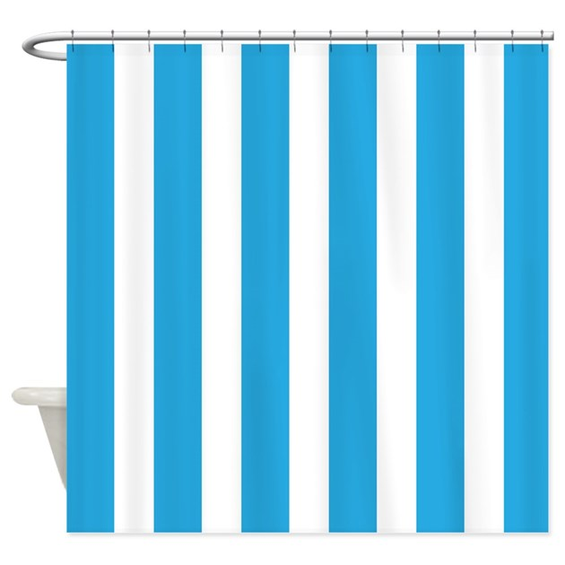 blue and white vertical stripes shower curtain by beautifulbed