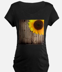 sunflower barnwood country Maternity T-Shirt