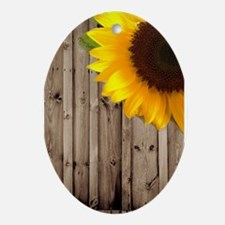 sunflower barnwood country Ornament (Oval)