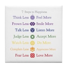 7 Steps to Happiness with Chakras Tile Coaster