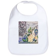 white rose peacock feather vintage floral Bib