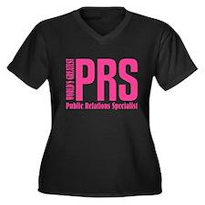 Public Relat Women's Plus Size V-Neck Dark T-Shirt