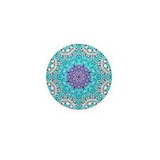 Vintage turquoise bohemian pattern Mini Button