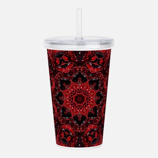 Vintage red floral boh Acrylic Double-wall Tumbler