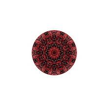 Vintage red floral bohemian pattern Mini Button